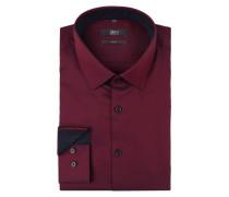 Slim Fit Business-Hemd mit Webmuster