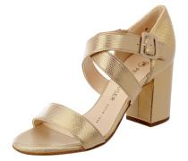 Sandalette aus Leder mit Muster in Metallicoptik