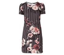 Kleid mit floralem Muster und Streifendetails