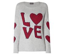 Pullover mit Wording aus Effektgarn