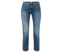 Double Stone Washed Straight Fit Jeans