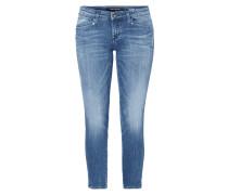 Cropped Slim Fit Jeans im Used Look