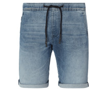 Stone Washed Slim Fit Jeansshorts mit Tunnelzug
