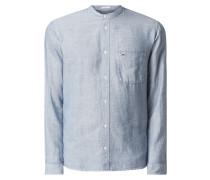 Modern Fit Freizeithemd aus Baumwoll-Leinen-Mix mit Brusttasche