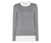 Pullover mit plissiertem Saum aus Chiffon