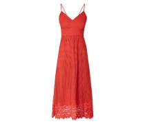 Kleid aus Mesh mit Spitzenbesatz