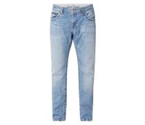 Stone Washed Comfort Fit Jeans mit Kontrastnähten
