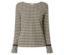 Sweatshirt mit Effektgarn und Hahnentritt-Dessin