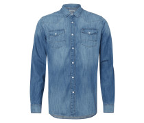 Slim Fit Jeanshemd im Western-Look