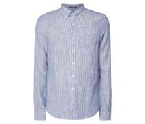 Regular Fit Leinenhemd mit Streifenmuster