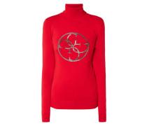 Rollkragen-Pullover mit Logo aus Zierperlen