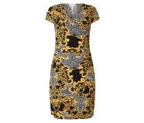 Kleid in Wickel-Optik mit Ornamentmuster