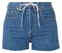 Jeansshorts mit Fransen an den Beinabschlüssen