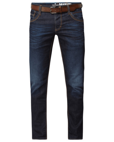 Stone Washed Regular Fit Jeans mit Gürtel