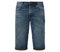 Stone Washed Relaxed Fit Jeansbermudas