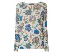 Pullover mit eingestricktem Blumenmuster