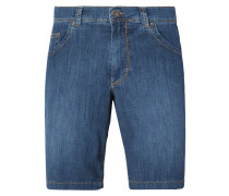 Straight Fit Jeansbermudas aus Light Denim