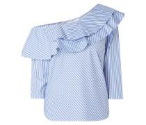One-Shoulder-Blusenshirt mit Streifenmuster