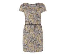 Kleid mit Taillengürtel und Allover-Muster