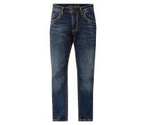 Stone Washed Regular Fit Jeans mit Kontrastnähten