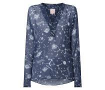 Blusenshirt aus Krepp mit Planetenmuster