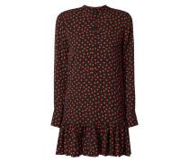 Kleid mit Volantsaum und grafischem Muster