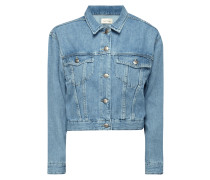 Stone Washed Cropped Jeansjacke
