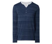 Slim Fit Serafino-Shirt mit Kontrastabschlüssen