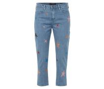 Boyfriend Jeans mit Glitter-Sternen - verkürzt
