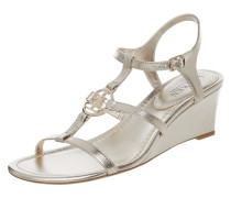 Wedges aus Leder in Metallic-Optik