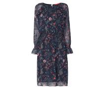 Kleid mit Volantbesatz und floralem Muster