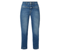 Mom Fit High Waist Jeans mit Label-Patch