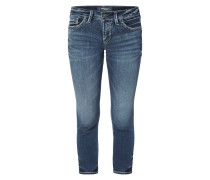 Stone Washed Cropped Skinny Fit Jeans