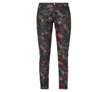 Coloured Skinny Fit Jeans mit floralem Muster