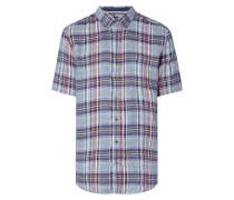 Modern Fit Leinenhemd mit Karomuster