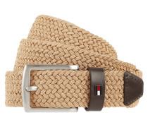 Flechtgürtel aus Textil mit Lederbesatz