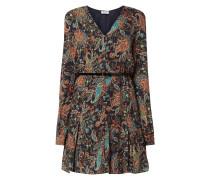 Kleid mit Effektgarn und Taillengürtel