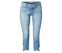 Stone Washed Cropped Jeans mit Used-Effekten