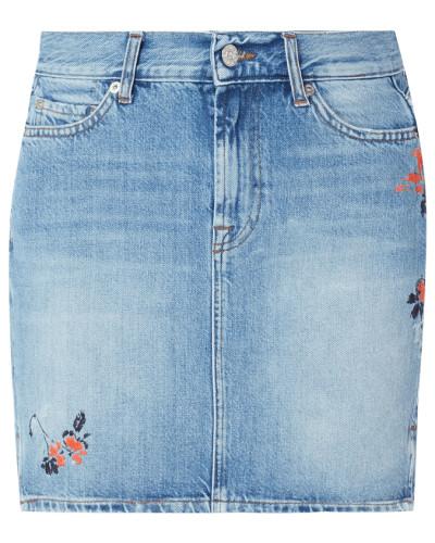 5-Pocket-Jeansrock mit floralen Stickereien