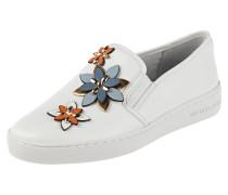 Slip-On Sneaker aus Leder mit Blüten-Applikationen