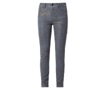 Coloured Slim Fit Jeans mit Leopardenmuster
