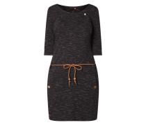 Kleid in Melange-Optik mit Taillengürtel