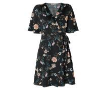 Wickelkleid aus Krepp mit floralem Muster
