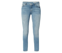 Stone Washed Skinny Fit Jeans mit Used-Effekten