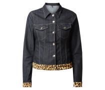 Jeansjacke mit Kontrastbesatz