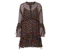 Kleid aus Seide mit Volantbesatz