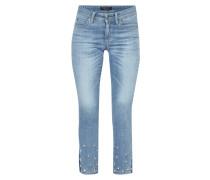 Cropped Slim Fit Jeans mit Zierperlenbesatz