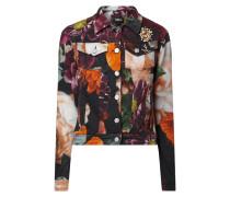 Jeansjacke mit floralem Muster