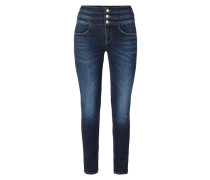 Cropped Stone Washed Skinny Fit Jeans
