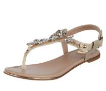 Sandalen in Metallic-Optik mit Ziersteinbesatz